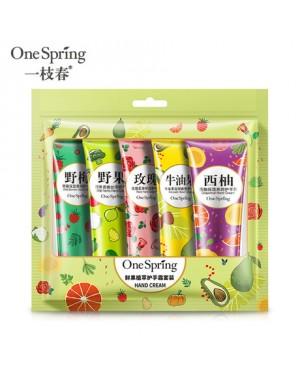 One Spring Fresh fruit plant extract hand cream set, elegant fragrance, moisturizing, gentle care, hand care cream